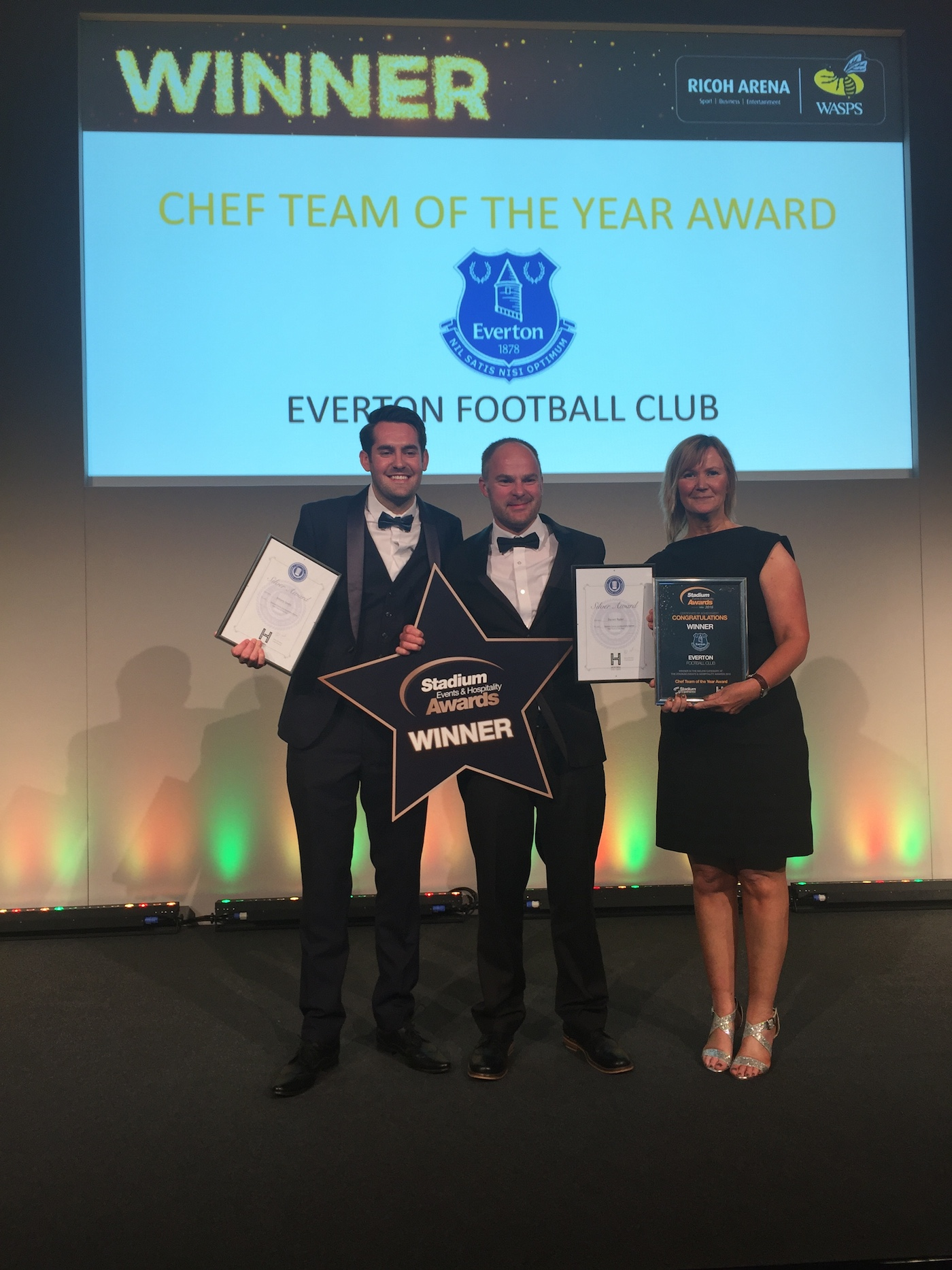 The Sodexo team at Everton receiving their Chef Team of the Year award